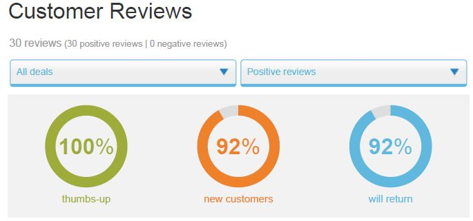 Customer Reviews 30 positive reviews. 100% thumbs up. 92% will return.